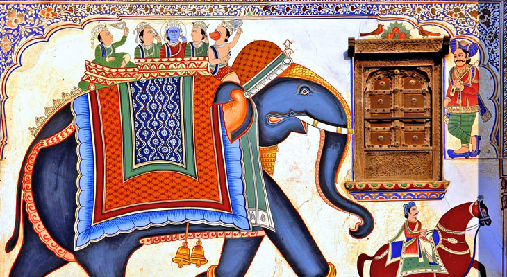 Luxury Rajasthan Holiday - Mandawa's many havelis feature striking wall paintings in typical Rajasthani style